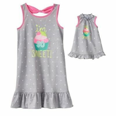 """Cupcake size 6 Matching girl doll nightgown pj's fit american 18 """" Small girls"""
