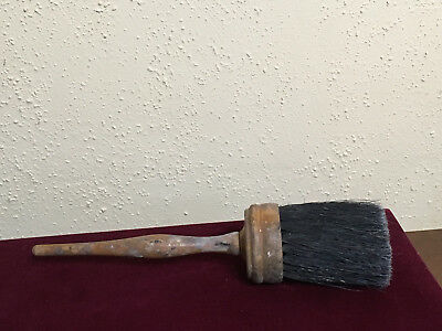 Vintage Antique Old Round Horse Hair Wood Paint Brush Used