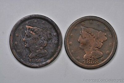 US 1850 & 1853 Braided Hair Half Cent s Look No Reserve Scarce | 1203