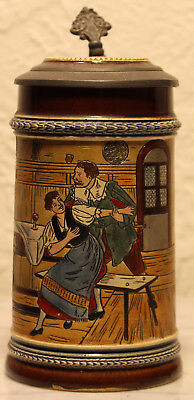 "J.W. Remy ""Tavern Scene"" 1/2L Antique German beer stein mold # 1292"