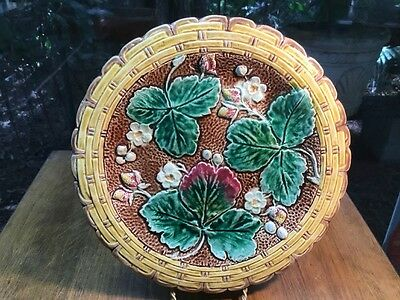 Antique German Majolica Strawberry Compote Footed Pedestal Dish c.1880-1895