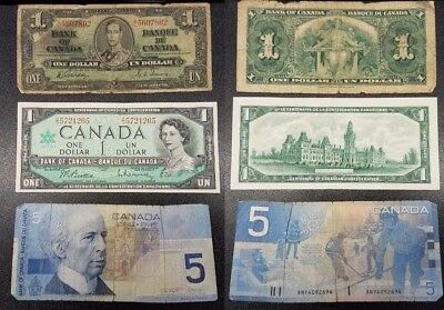 Lot of 3 Canadian Banknotes Bank of Canada 1937 $1, 1967 $1, 2002 $5