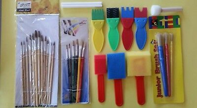 Kids Paint Brushes Foam Brushes Paint Effects Brushes 31 pce Bulk Lot Clearance