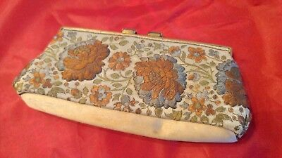 VINTAGE - Antique Embroidered Clutch Made in France. Beautiful Floral Design