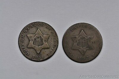 1851 & 1852 Three 3c Cent Silver Pieces Trimes Look No Reserve | 11209