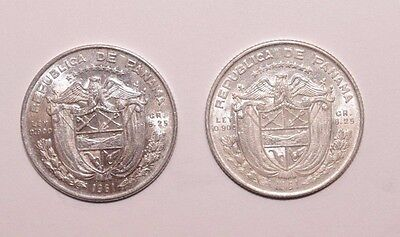1961, 1/4 Balboa Panama 0.9 Silver a Lot of 2 High Grades Very Nice Coins