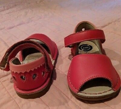 Girls Livie & Luca KEA Leather Poppy Pink Watermelon Sandals Shoes Toddler 8 EUC