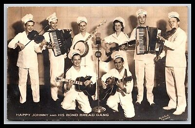 Happy Johnny & His Bond Bread Gang Rppc Advertising Banjo Guitar By Mitchell