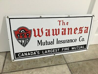 Wawanesa Fire Insurance Porcelain Sign Vintage collectible 1950's Canada 9/10