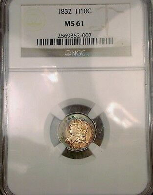 1832 Capped Bust Half Dime  Ngc Ms 61    Beautiful Colorful Toning