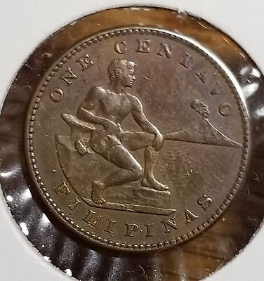Philippines USA 1917 S One Centavo Choice Original Brown Coin M54