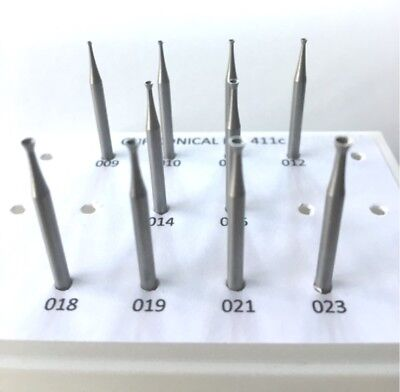 JEWELRY CUP CONICAL BUR SET FIG 411c  10 PCS 009-023 QUALITY BURS FOR JEWELERS