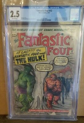 Fantastic Four #12 CGC 2.5. 1st Meeting of Hulk & FF. Classic Kirby Cover 1963.