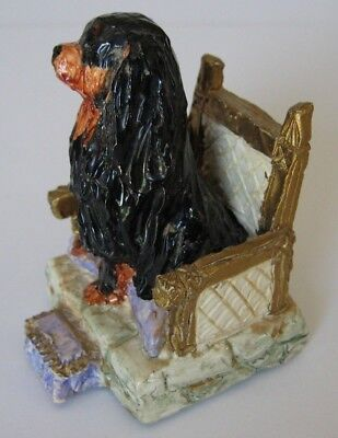 Black and tan Colored Cavalier King Charles Spaniel sitting on Chair Mint! Old!