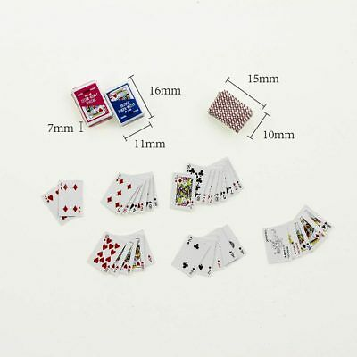 Set of Dollhouse Miniature Playing Game Cards Mini Poker Re-ment Accessory Toy