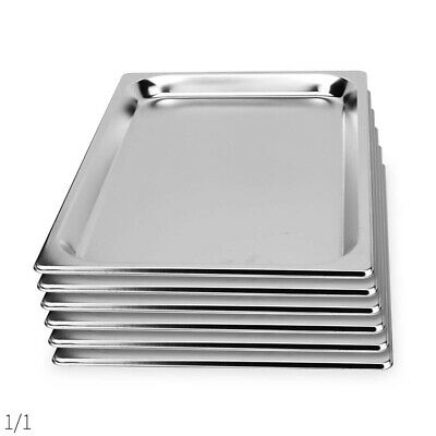 SOGA 6 x Gastronorm GN Pan Full Size 1/1 GN Pan 65mm Deep Stainless Steel Tray