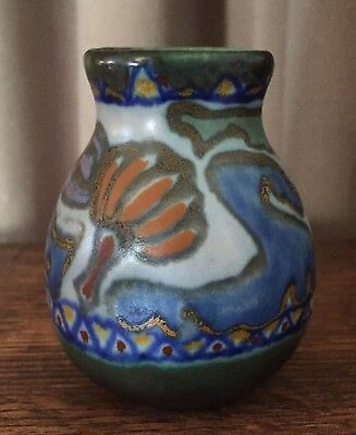 "1918 Crocus Gouda Miniature 3""  Pitcher  Matte Green, Cobalt, Orange, & Lavender"