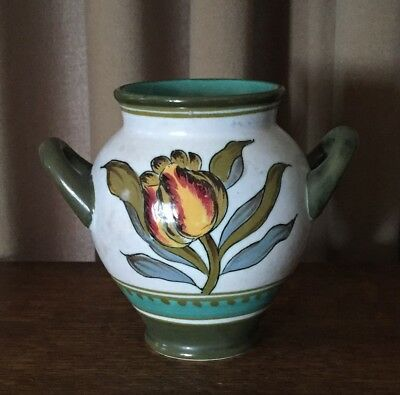 "1930 Irene Royal Zuid Gouda Holland 4 7/8"" Vase, Two-Handled, White& Green"