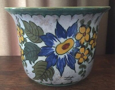 "1925 Gouda Anita Holland 5 7/8"" Dia. Bowl - Floral Motif, Cobalt, Yellow, Orange"