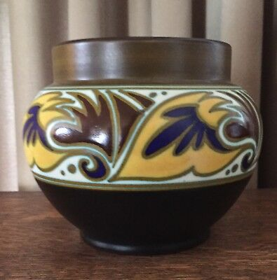 "1928 Gouda Collda Vase 6"" diameter Holland Brown, Black, Yellow, Cobalt, Maroon"