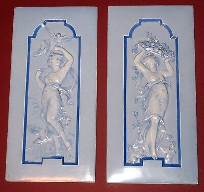 Pair Of Art Nouveau Ceramic Tile Plaques - Mucha Style Romantic Figures