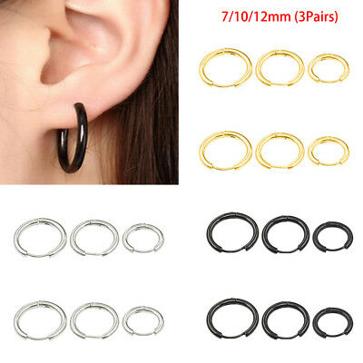 7/10/12mm (3Pairs) Mens Womens Stainless Steel Tube Hoop Ear Ring Stud Earrings