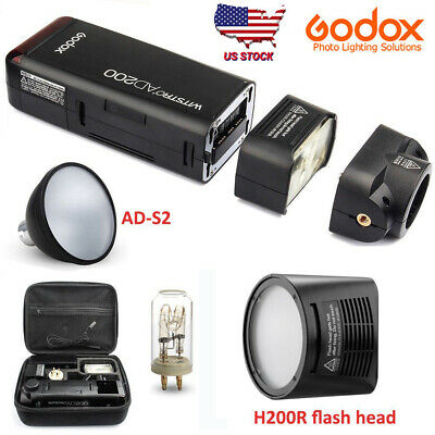 US GODOX AD200 200W 2.4G TTL HSS Speedlite Flash+AD-S2 Reflector+H200R Ring Head