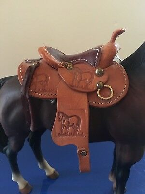Leather Saddle Made for Traditional size Horse (Breyer, Stone, Blue Ribbon, BHR)