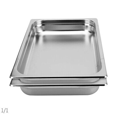 SOGA 2 x Gastronorm GN Pan Full Size 1/1 GN Pan 100mm Deep Stainless Steel Tray