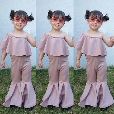 US Canis Baby Kids Girl One shoulder Ruffle Top Long Flared Pants Bell-bottoms