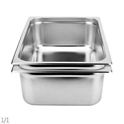 SOGA 2 x Gastronorm GN Pan Full Size 1/1 GN Pan 150mm Deep Stainless Steel Tray