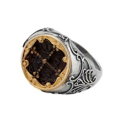 D227 ~ Sterling Silver & Bronze Medieval Byzantine Cross Ring