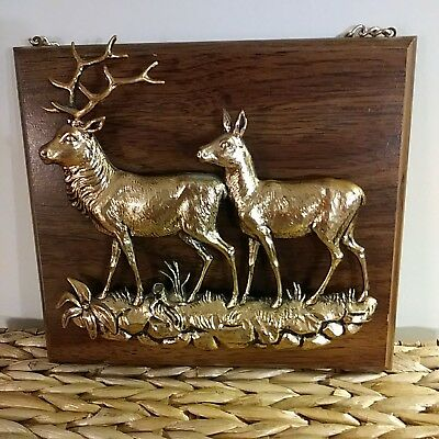 Buck & Doe Wall Plaque 3D Bronze finish.8x9in.Gold Tone Chain.