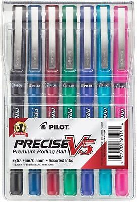 Pilot Precise V5 Roller Ball Stick Pen 0.5mm Extra Fine Assorted Inks  Pa... New