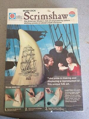 "NEW Sealed 1973 Whale tooth scrimshaw Resin ""REAL MOBY DICK"" Crafts Whiting Kit-"
