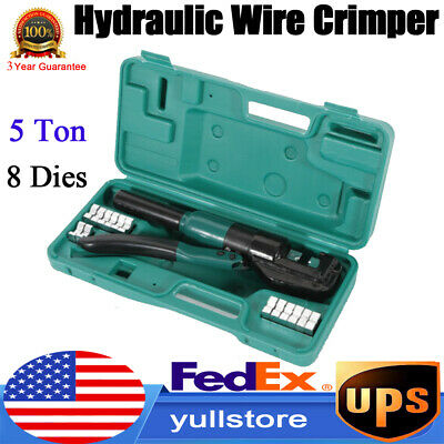 10 Ton Hydraulic Wire Battery Cable Lug Terminal Crimper Crimping Tool w/8 Dies