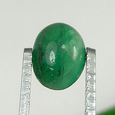 1.17 carat Oval Cabochon 8x6mm Natural Green Emerald Loose Gemstone - EmCb06