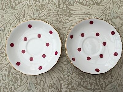 ROYAL VALE 1950s SAUCER x 2 SET RASPBERRY RED PINK POLKA DOTS GILDED BONE CHINA