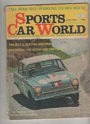Sports Car World 1965 Jan MGB GT Volvo Riley Falcon Aston Martin Bathurst Barth