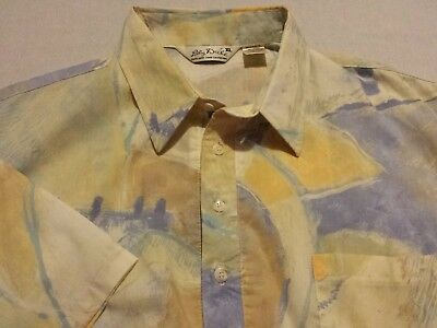 Vtg Lily Dache Men XL S/S Abstract Print Pullover Banded Bottom Mod Shirt