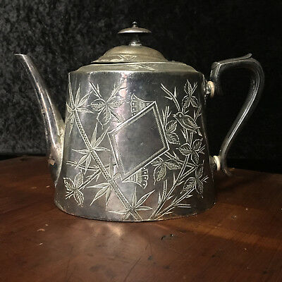 """Antique Teapot Asian Hand Etched Bamboo Design Silver Stamped """"0579"""""""