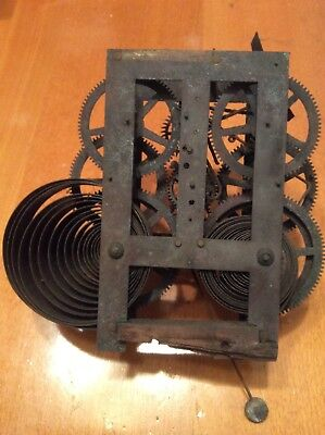 Antique Clock Mechanism. Very Old Clockwork Movement With Chime. Vintage Item.