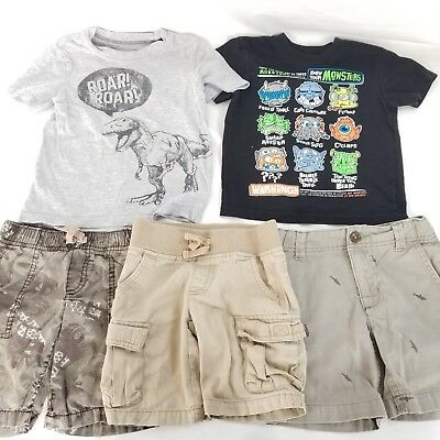 Toddler boy 3T used clothing lot T shirts shorts sharks dinosaurs monsters