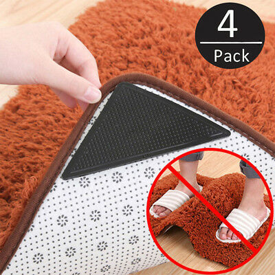 4 Pack Rug Stopper Anti Slip Rubber Corner Mat Washable Carpets Pad AU