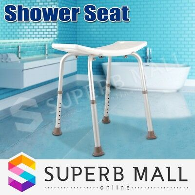 New Adjustable Bath / Shower Seat Chair  Stool Bench- White - Shower Aid safety
