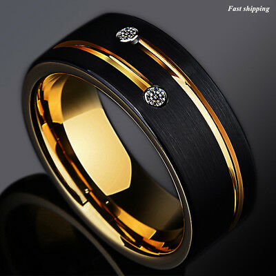 a5d1e03e959 8mm Black Brushed Tungsten Ring Gold Grooved Line Diamond ATOP Men Wedding  Band