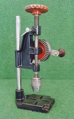SMALL VINTAGE CLOCK MAKERS HAND CRANKED PILLAR DRILL date unknown