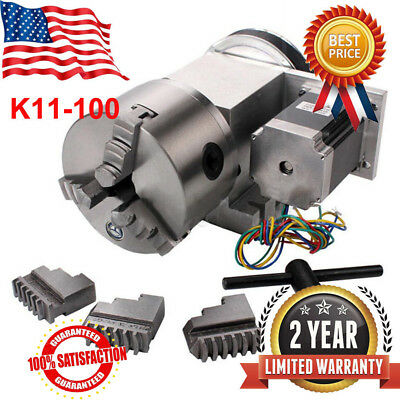 CNC Hollow Shaft 4th Axis Router Rotary Φ100mm 3 Jaw Chuck+MT2 65MM Tailstock 5