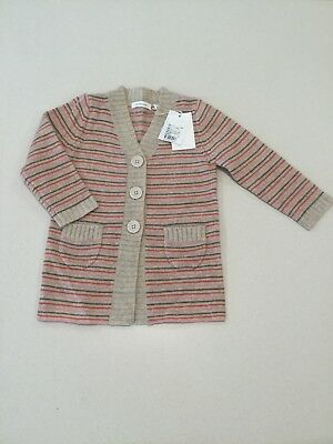 Brand New Baby Girls Country Road Long Stripe Knit Cardi Size 18-24 months
