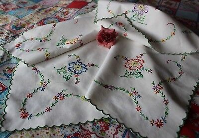Stunning Vintage Linen Tablecloth Hand Embroidered Flowers Bright Colours